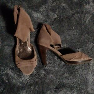 Suede Leather Heel Peep Toe Ankle Strap